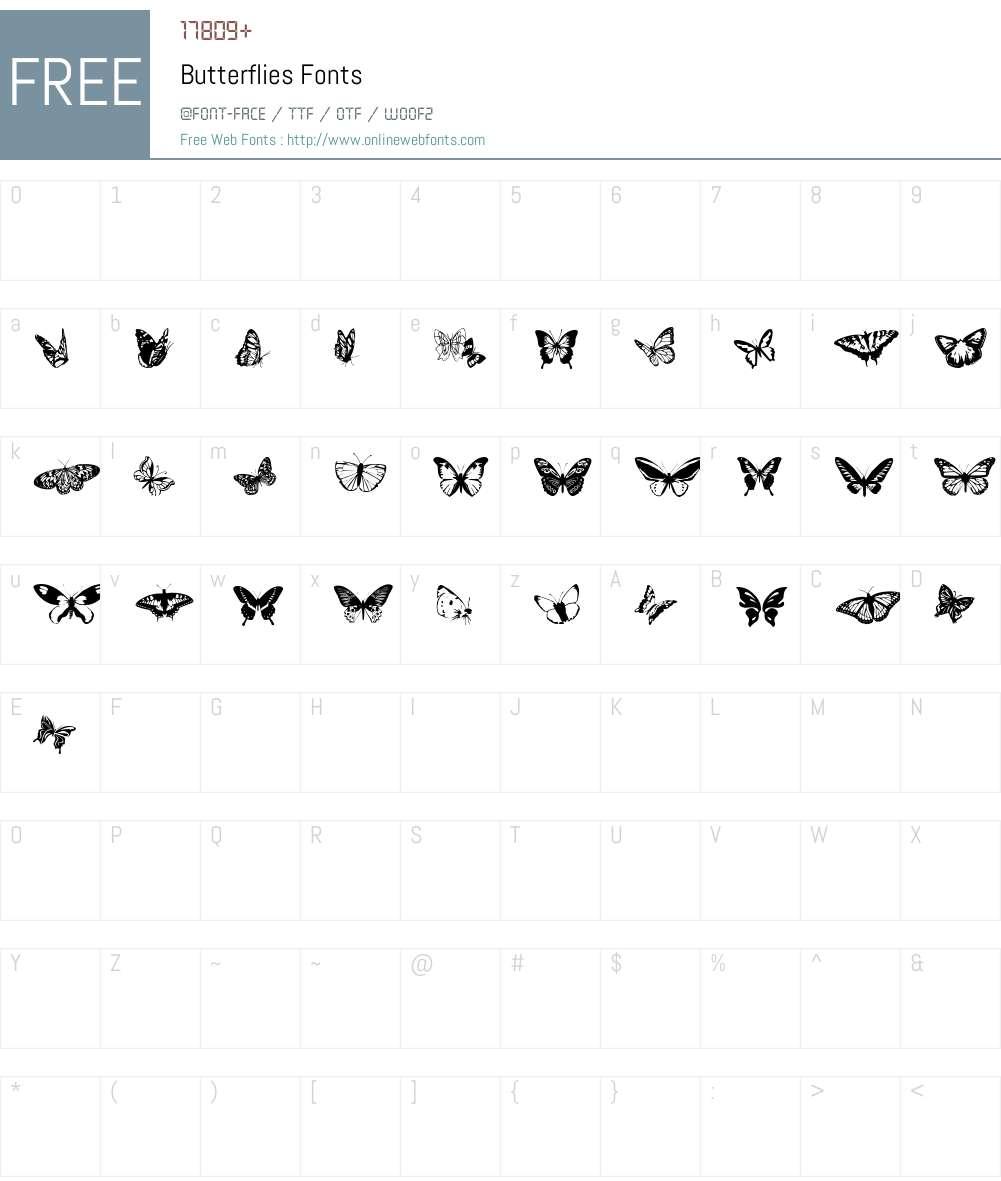 Butterflies Font Screenshots