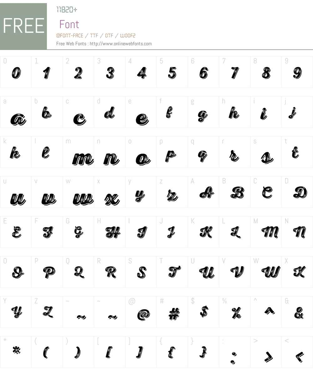 NexaRustScriptBW-Shadow Font Screenshots