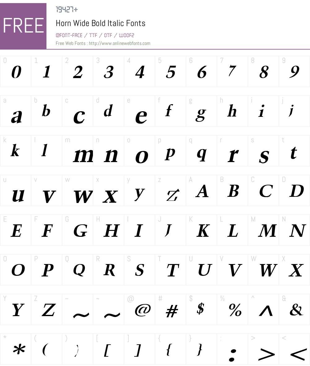 Horn Wide Font Screenshots