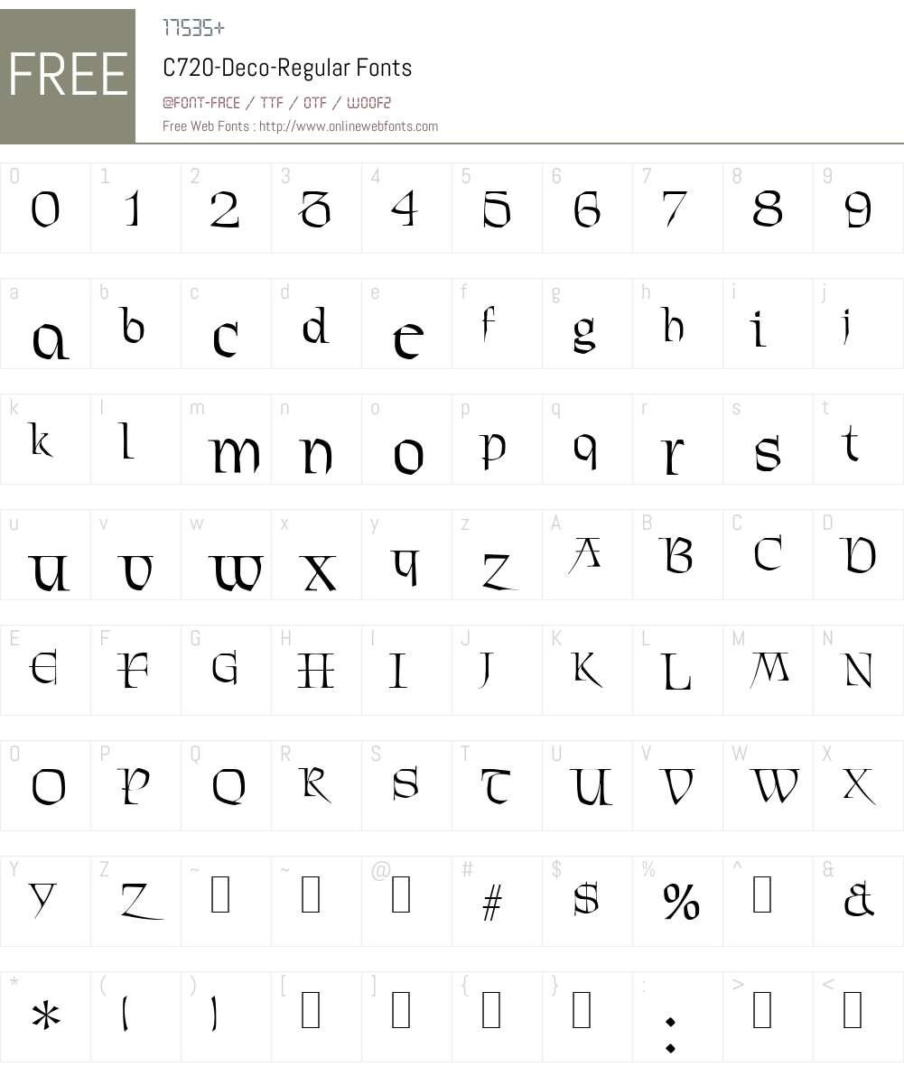 C720-Deco Font Screenshots