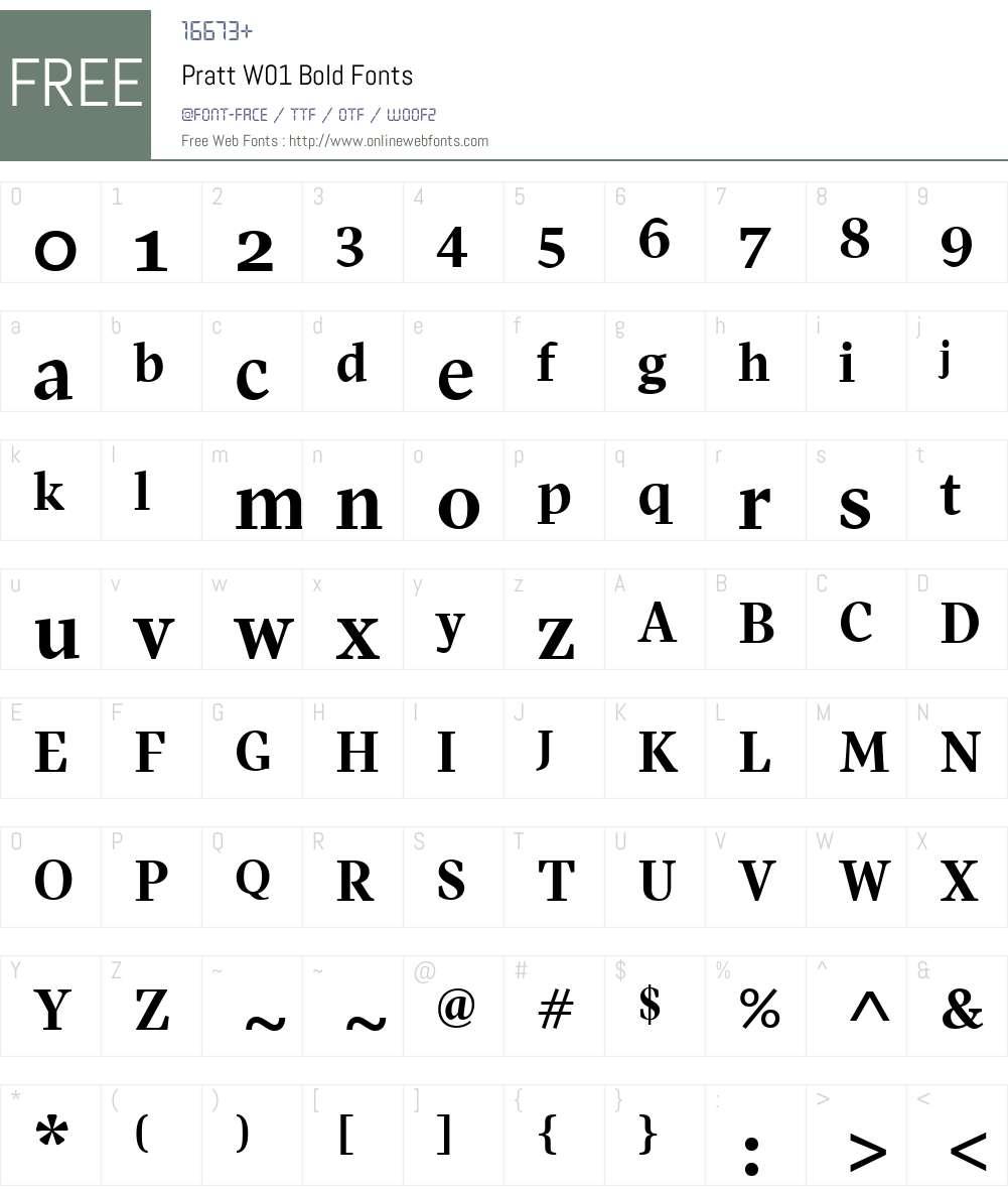 PrattW01-Bold Font Screenshots