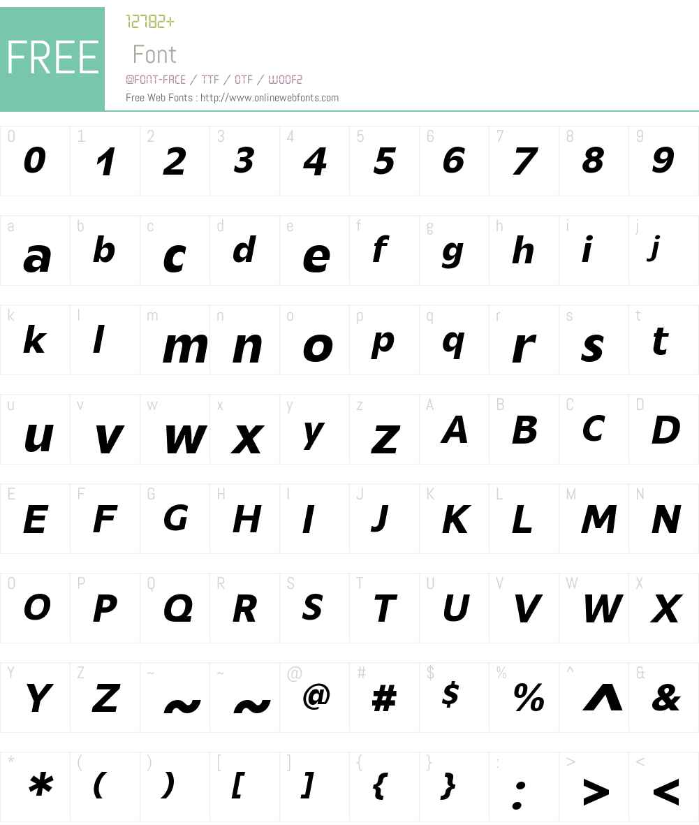 MensaW01-MediumItalic Font Screenshots