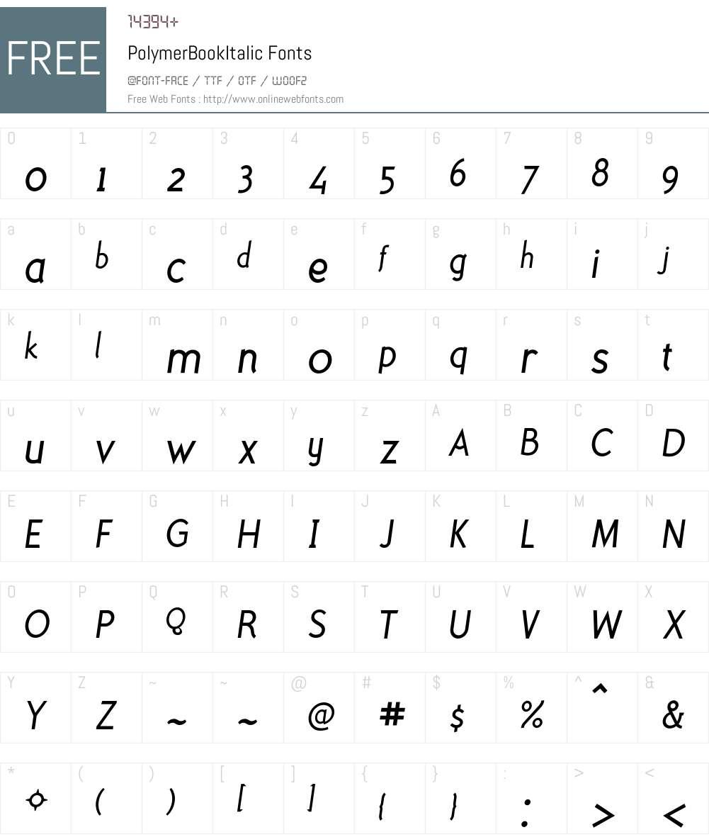 PolymerBookItalic Font Screenshots