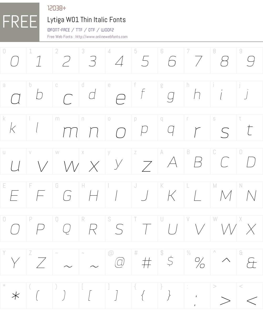 LytigaW01-ThinItalic Font Screenshots