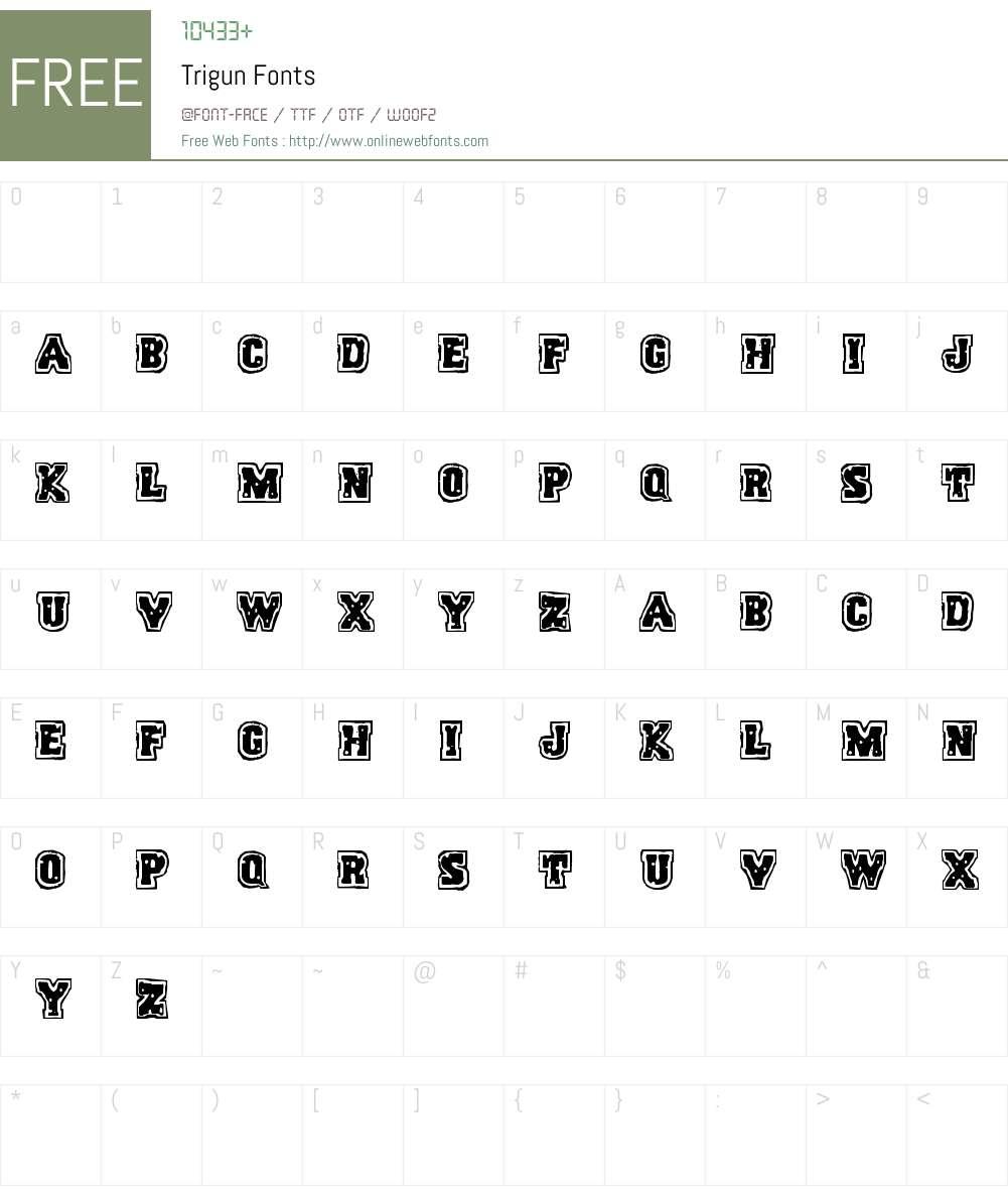 Trigun Font Screenshots