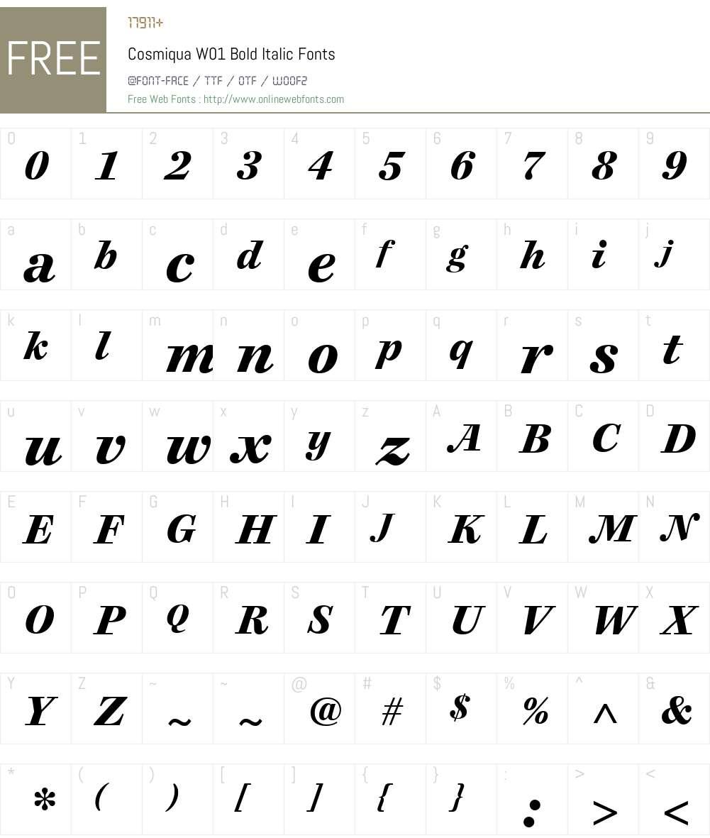 CosmiquaW01-BoldItalic Font Screenshots