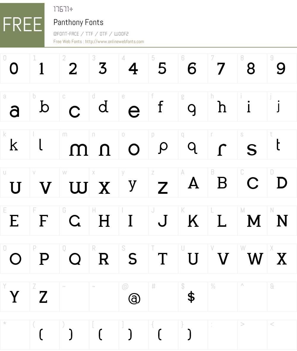 Panthony Font Screenshots
