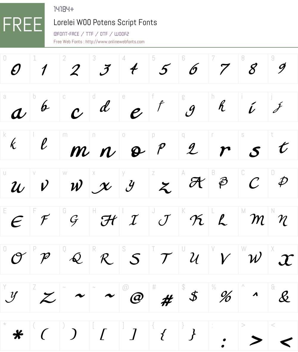 Lorelei Potens Script Font Screenshots