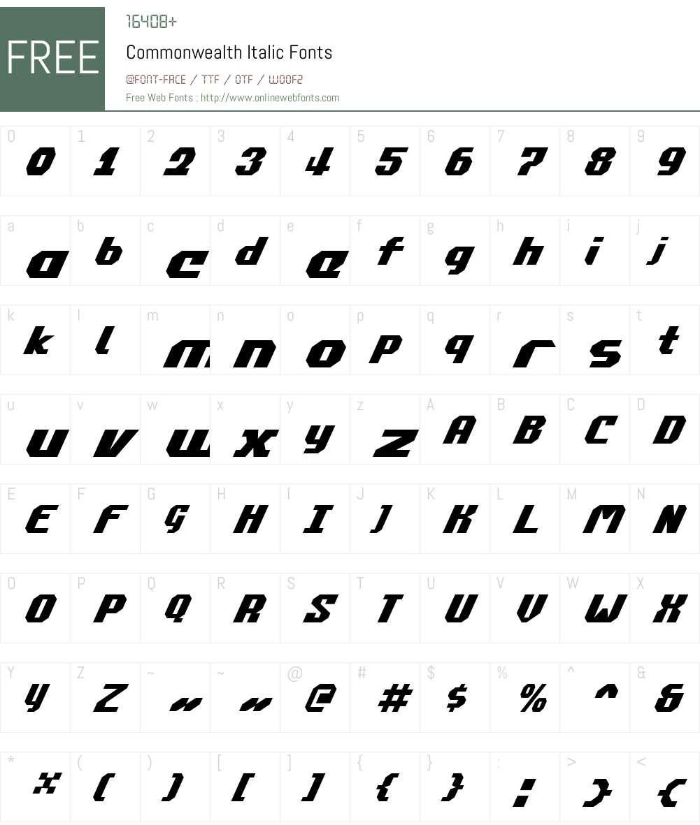 Commonwealth Italic Font Screenshots