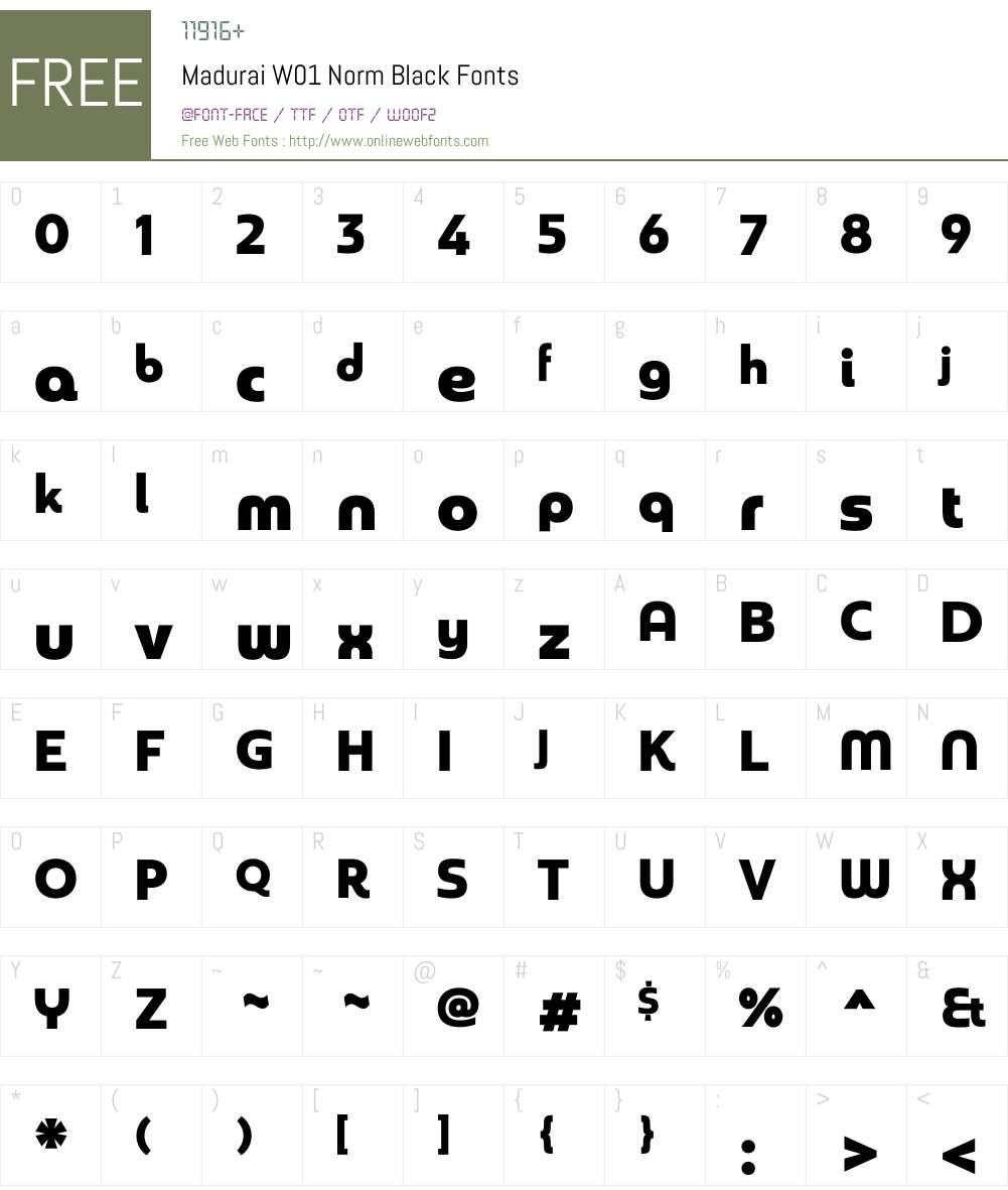 MaduraiW01-NormBlack Font Screenshots