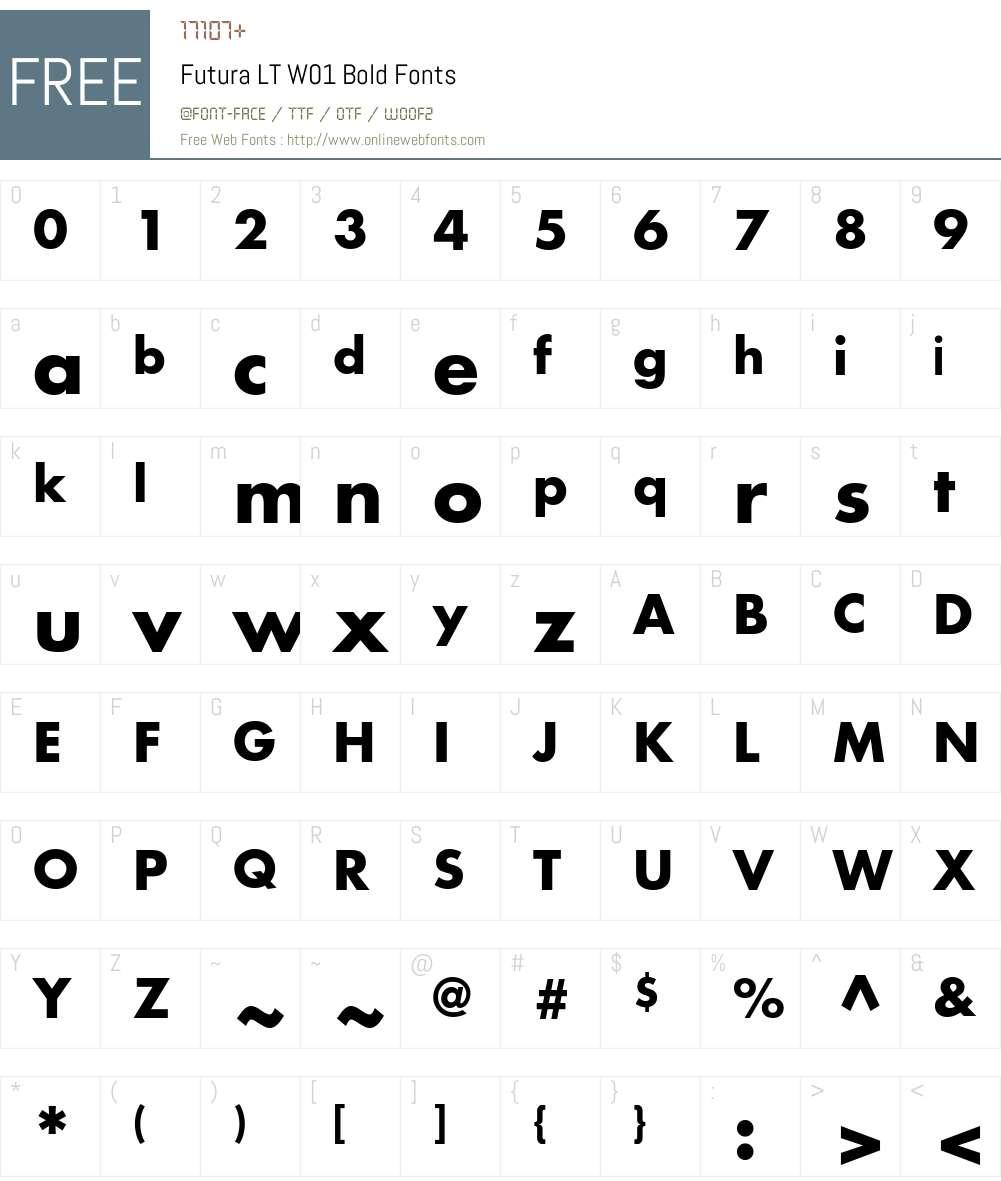 FuturaLTW01-Bold Font Screenshots