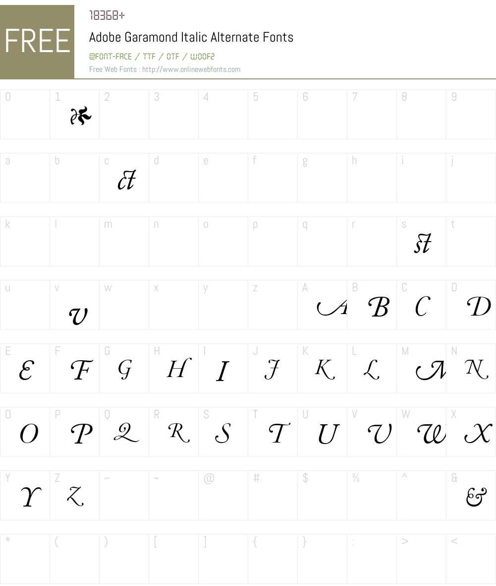 AGaramondAlt Italic Font Screenshots