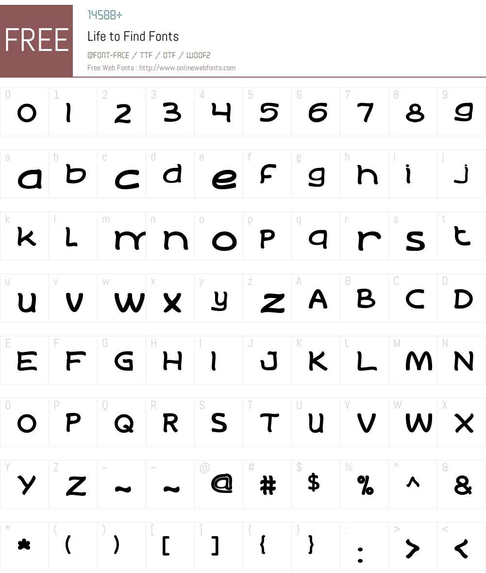 Life to Find Font Screenshots