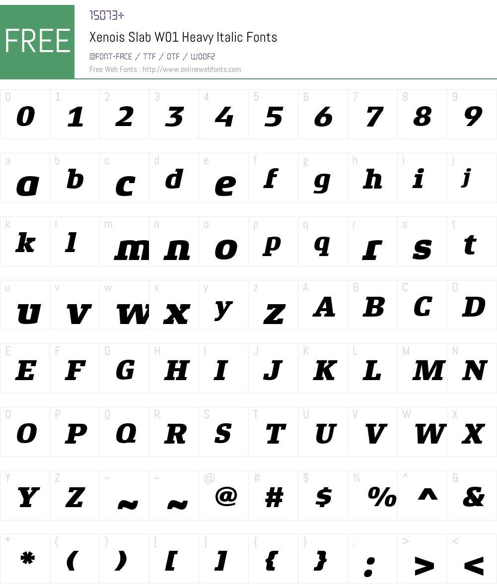 XenoisSlabW01-HeavyItalic Font Screenshots