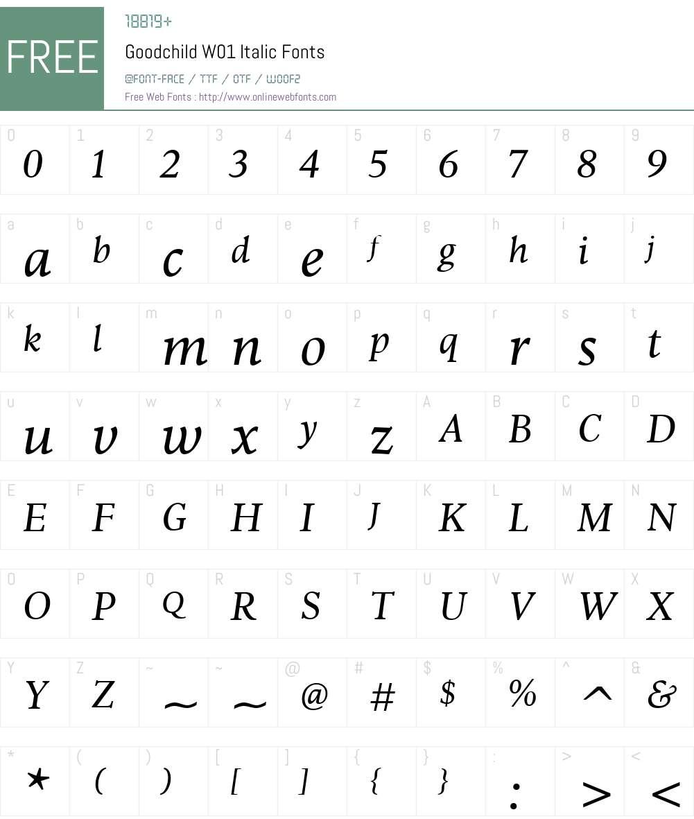 GoodchildW01-Italic Font Screenshots
