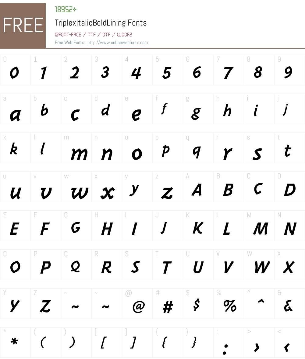 TriplexItalicBoldLining Font Screenshots