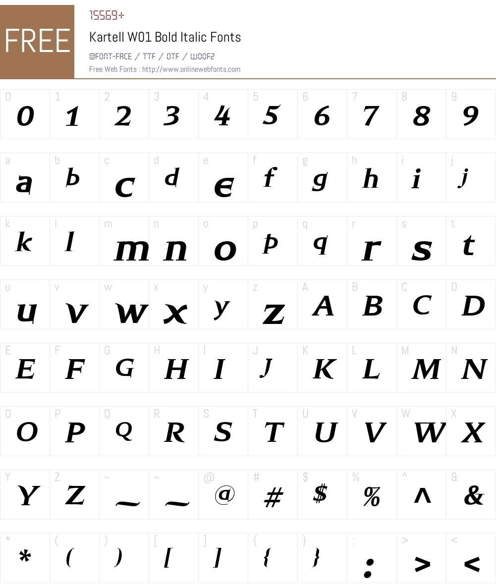 KartellW01-BoldItalic Font Screenshots