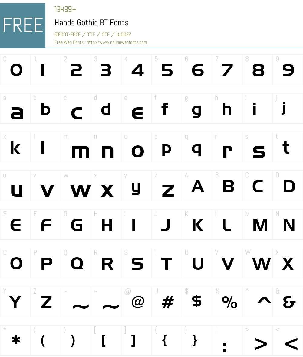 HandelGothic BT Font Screenshots