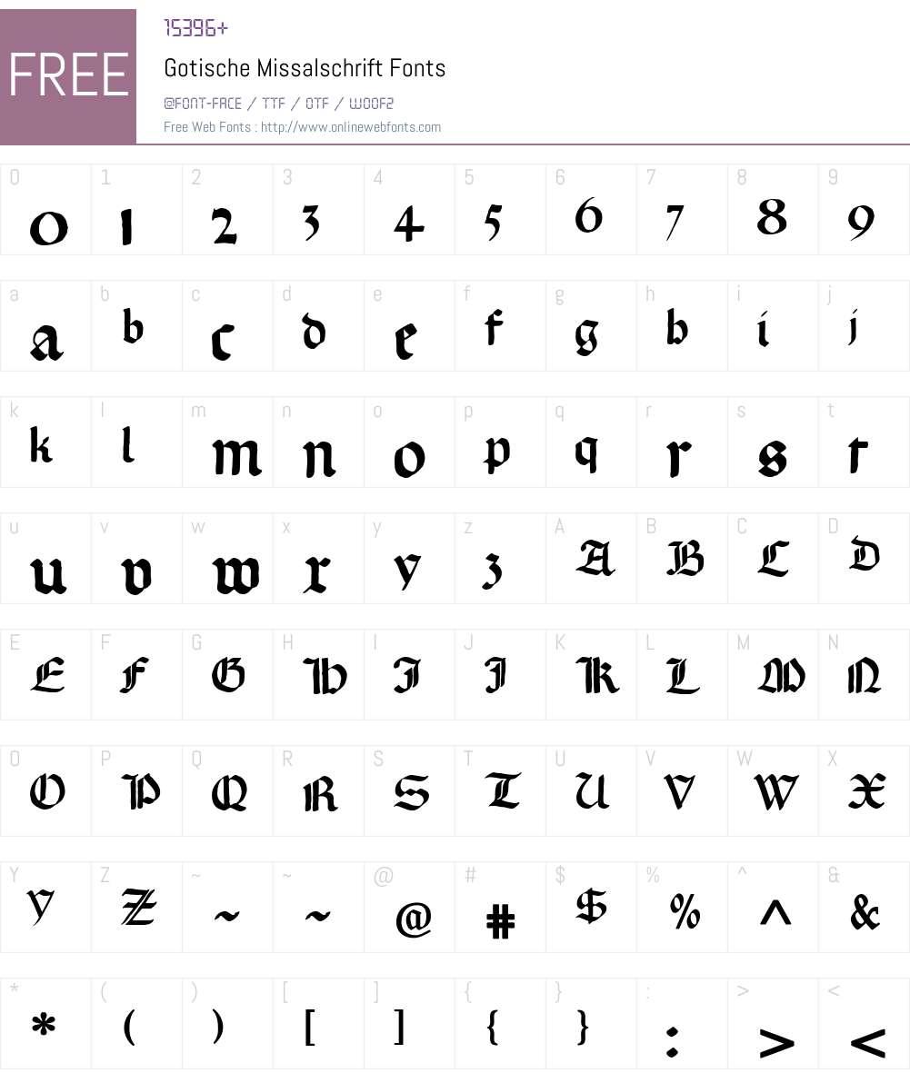 Gotische Missalschrift Font Screenshots