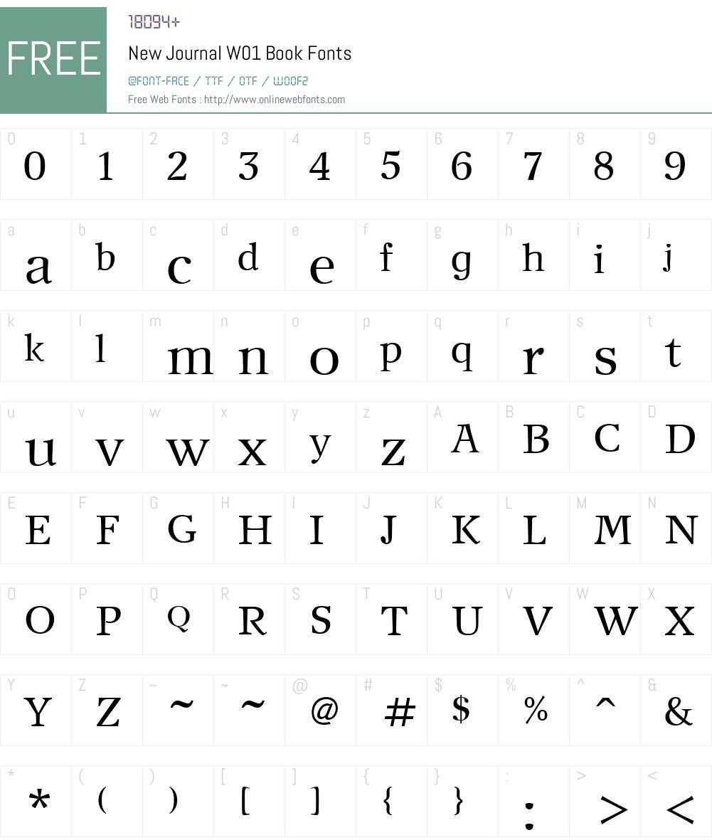 NewJournalW01-Book Font Screenshots