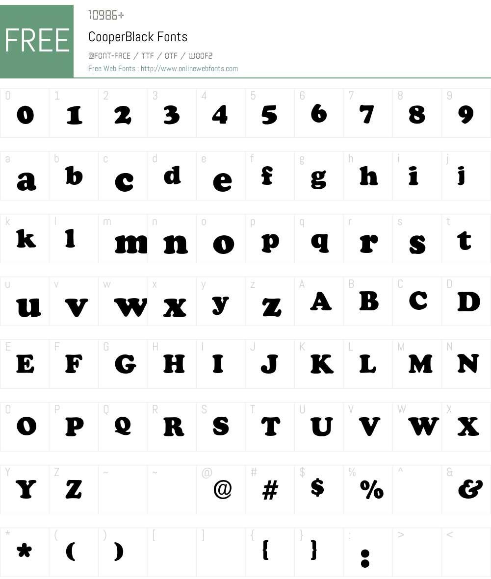 CooperBlack Font Screenshots