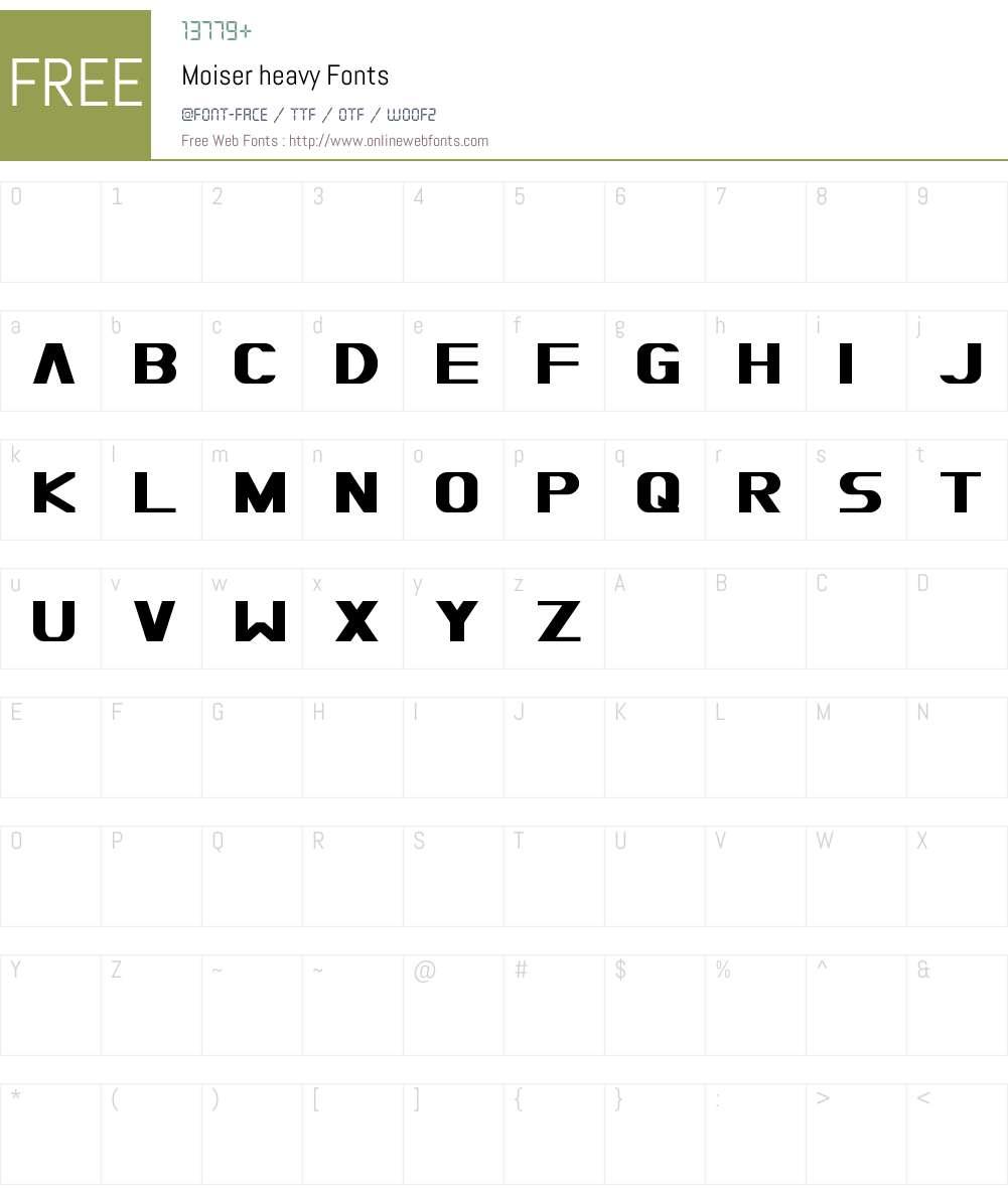 Moiser heavy Font Screenshots