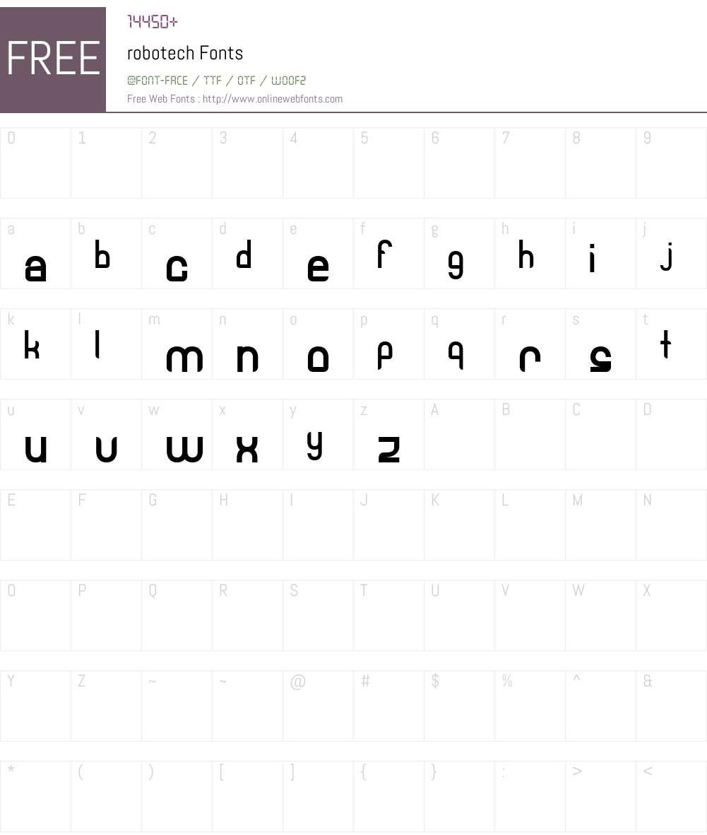 robotech Font Screenshots