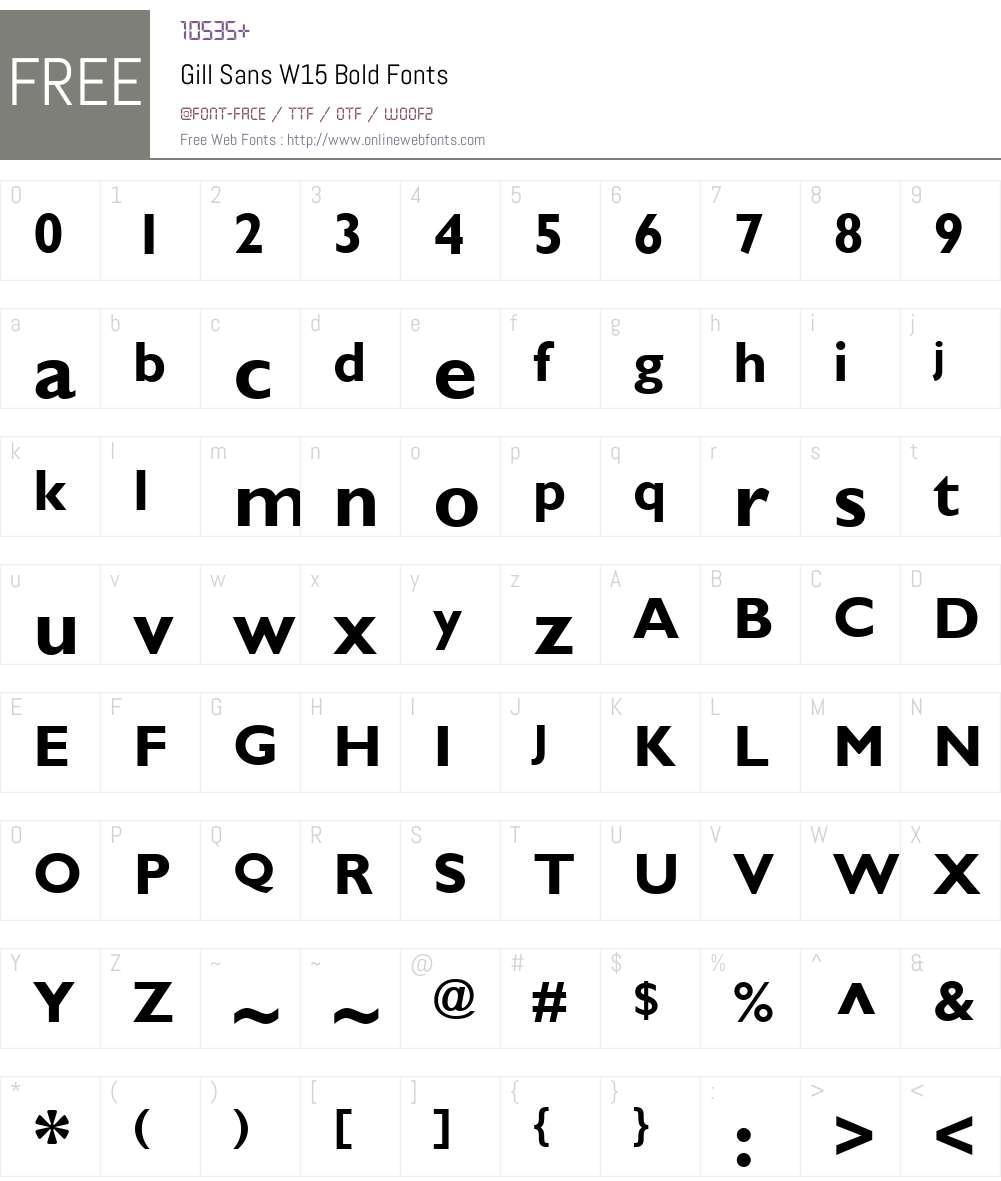 GillSansW15-Bold Font Screenshots