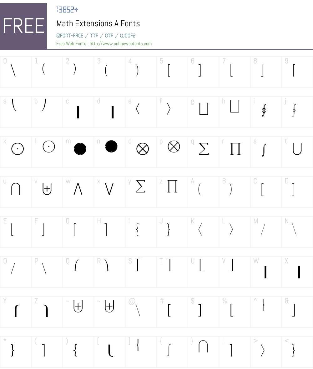 Math-Extensions Font Screenshots