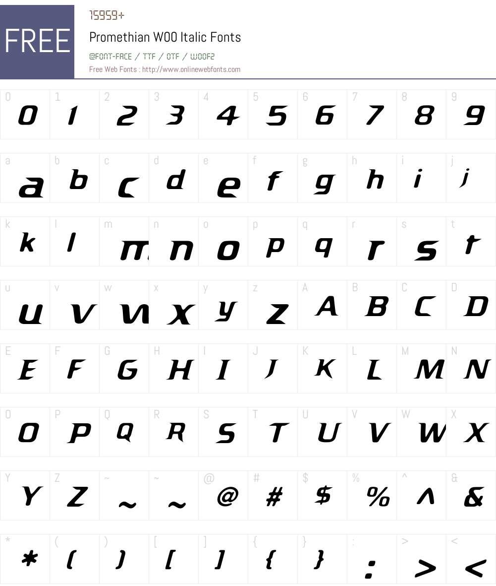 Promethian Italic Font Screenshots