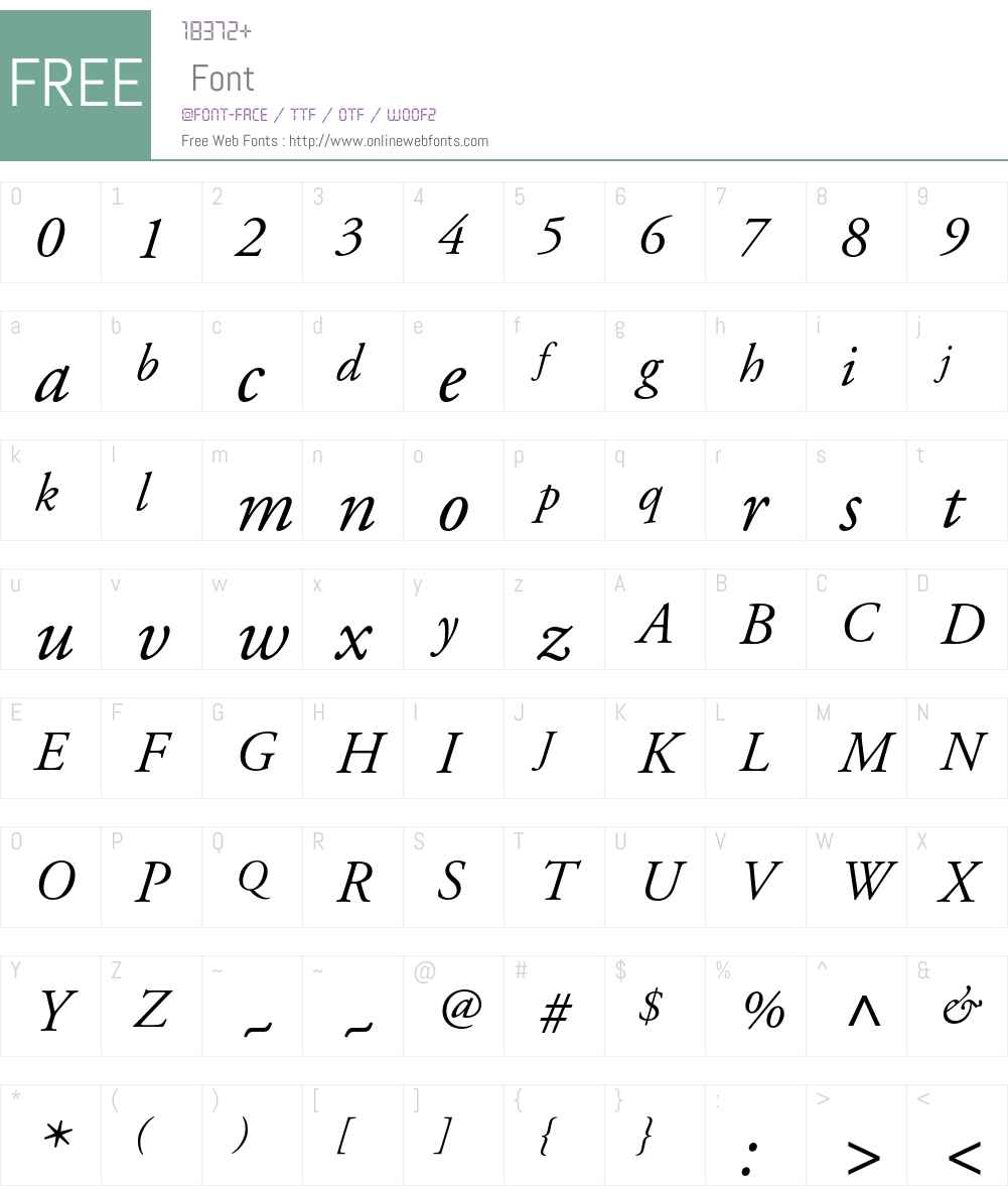 Adobe Garamond Font Screenshots