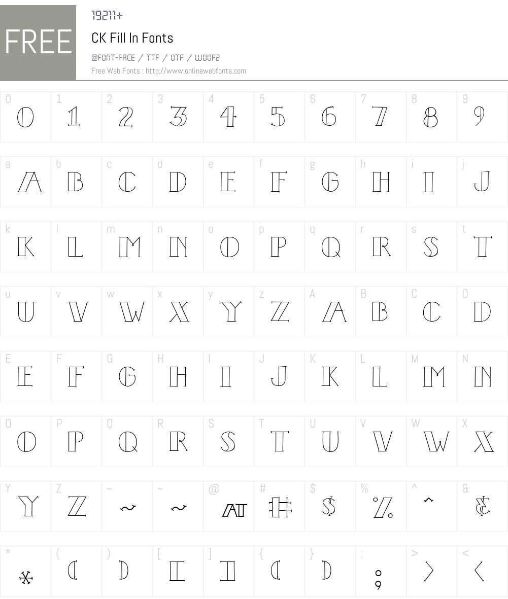 CK Fill In Font Screenshots