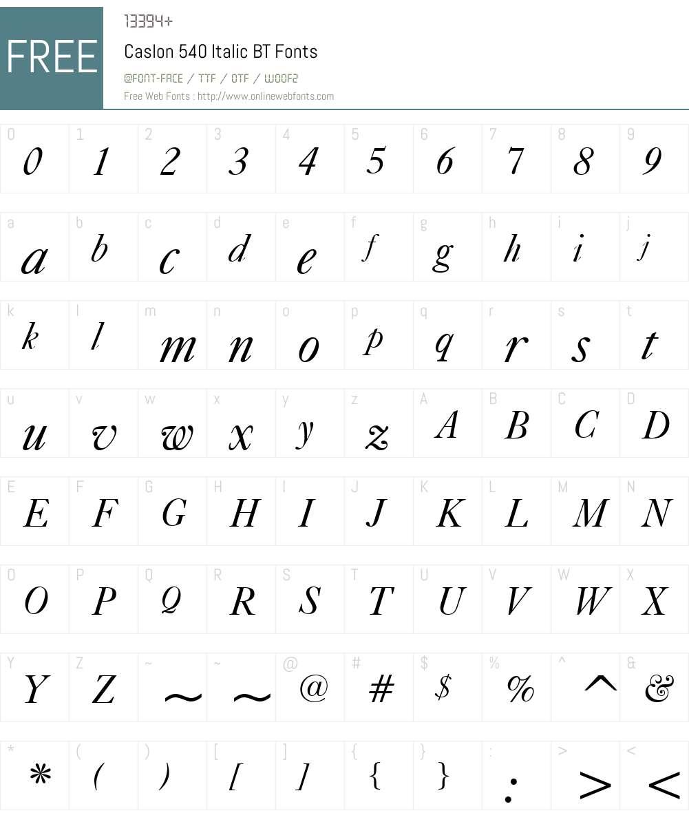 Caslon540 BT Font Screenshots