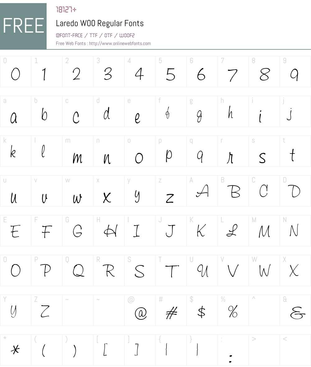 LaredoW00-Regular Font Screenshots