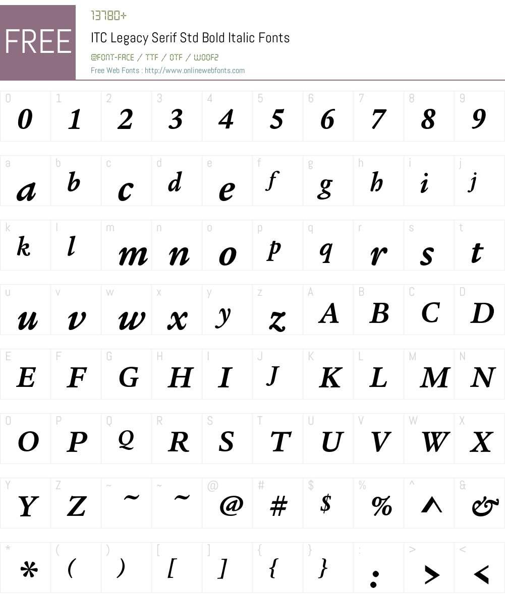 ITC Legacy Serif Std Font Screenshots