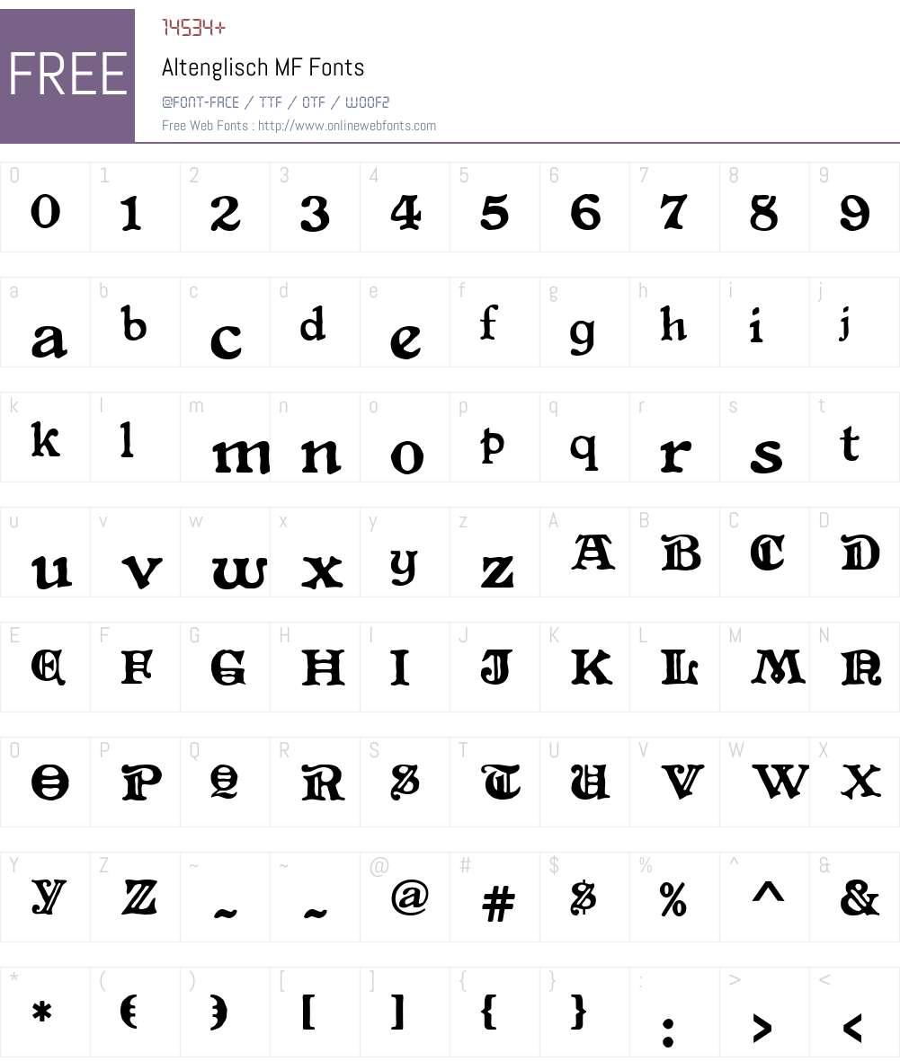 Altenglisch MF Font Screenshots