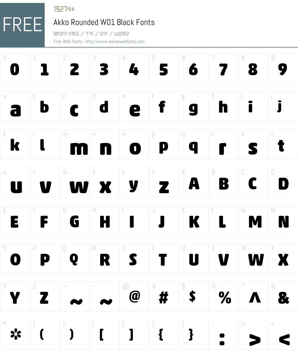 AkkoRoundedW01-Black Font Screenshots