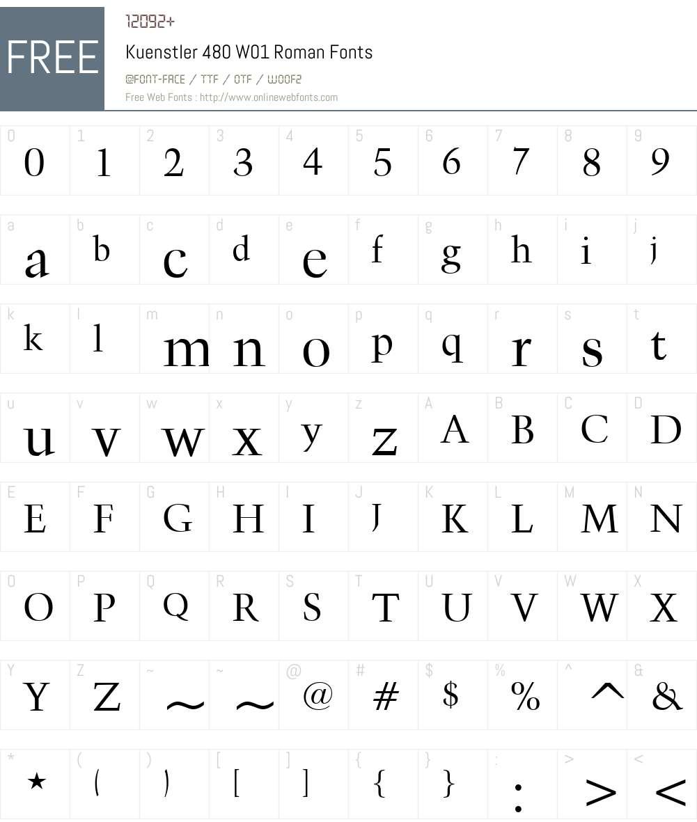 Kuenstler480W01-Roman Font Screenshots