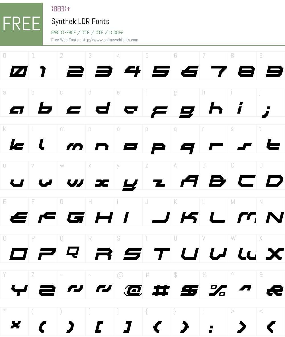 Synthek LDR Font Screenshots