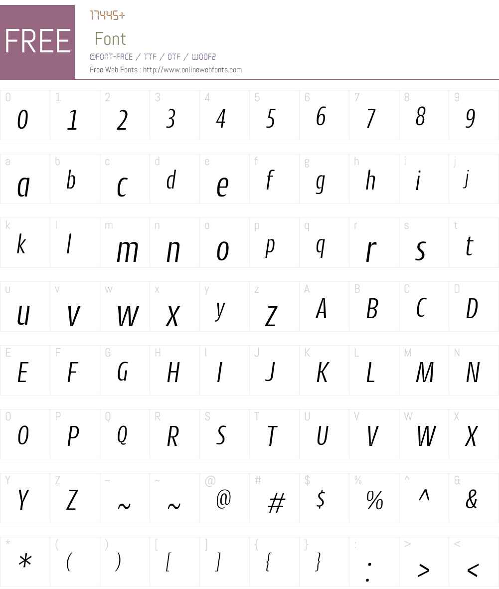 CantigaCndW01-LightItalic Font Screenshots