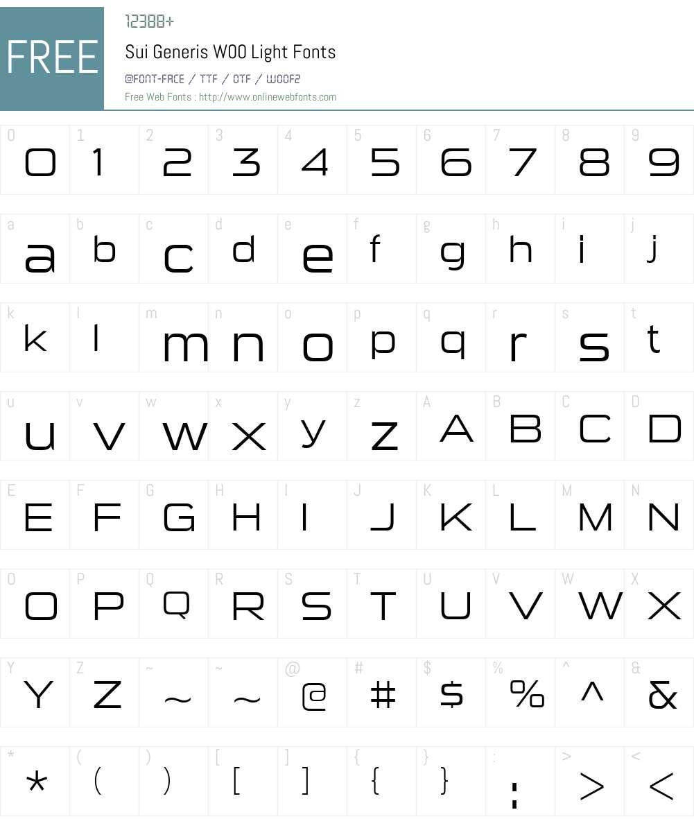 SuiGenerisW00-Light Font Screenshots