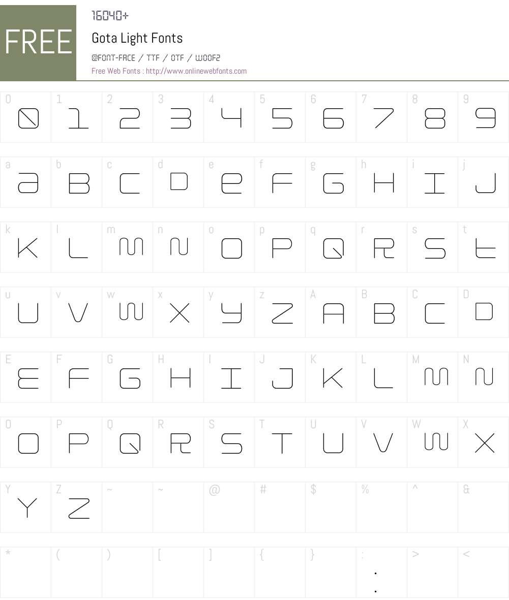 Gota Light Font Screenshots