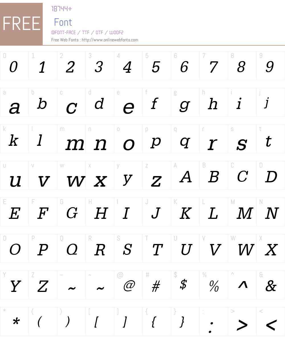 URWTypewriterW01-NarrowObl Font Screenshots