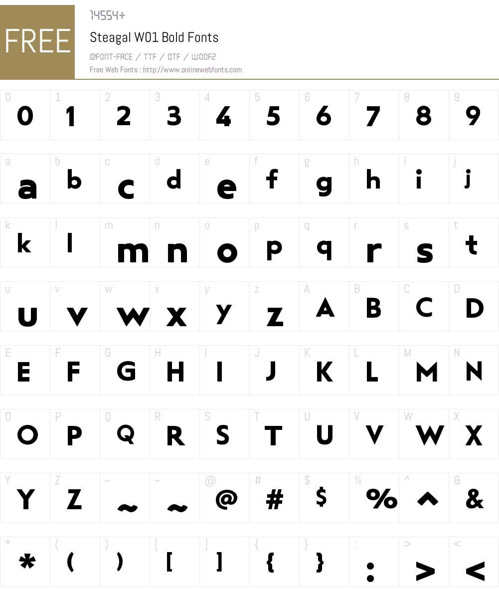 SteagalW01-Bold Font Screenshots