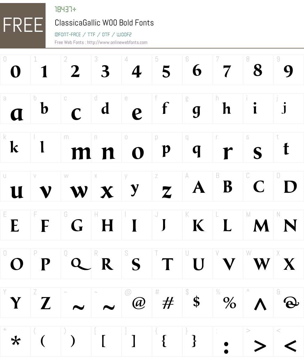 ClassicaGallicW00-Bold Font Screenshots