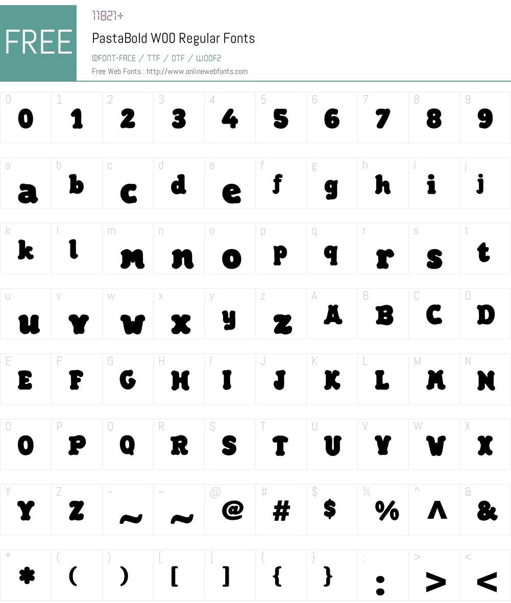 PastaBoldW00-Regular Font Screenshots
