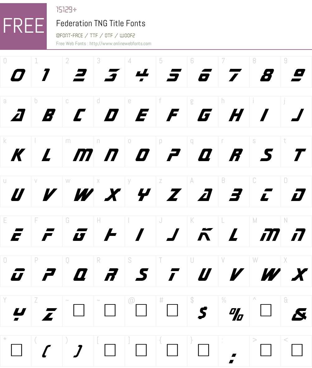 Federation Font Screenshots