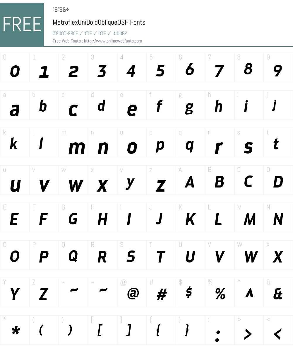 MetroflexW01-BdOblOsF Font Screenshots