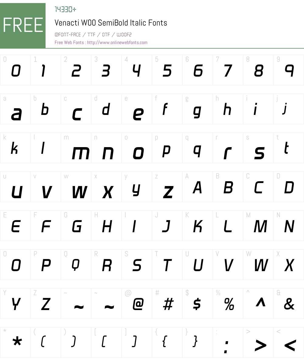 VenactiW00-SemiBoldItalic Font Screenshots