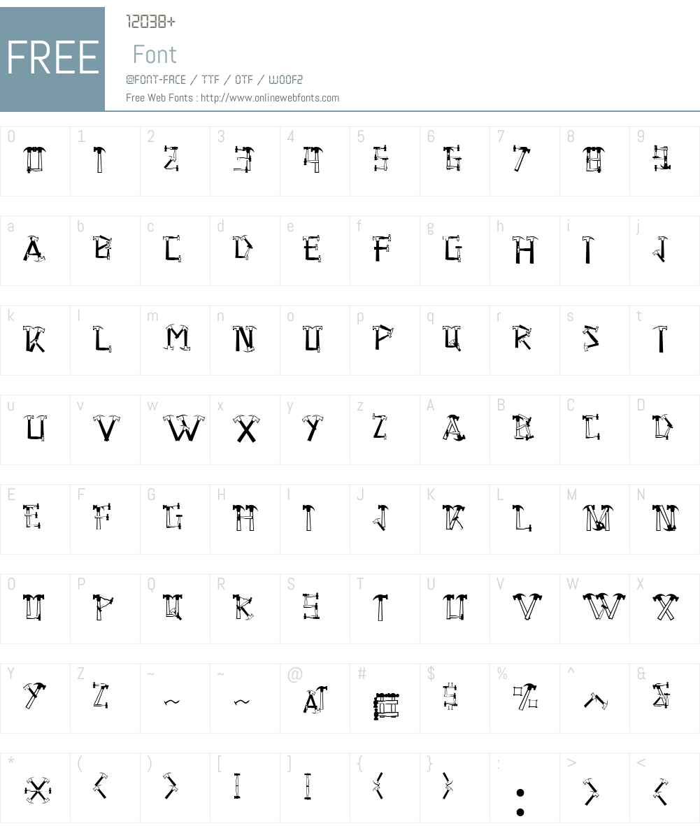 HammeredW00-Regular Font Screenshots